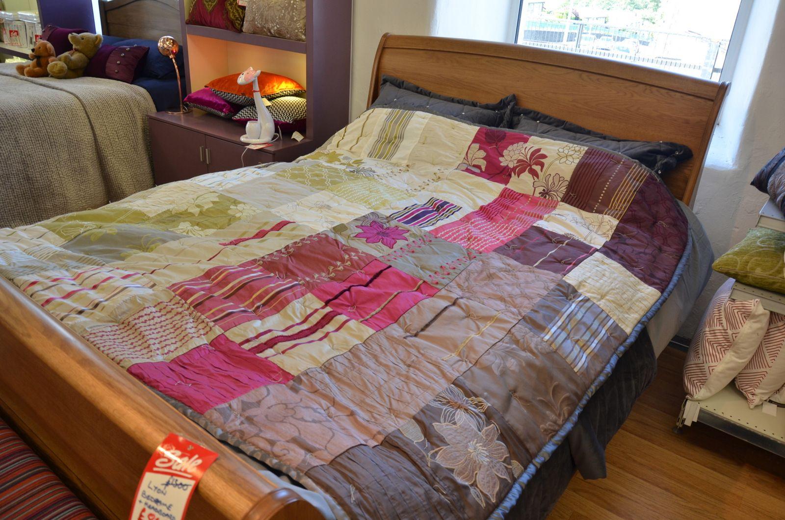 Handmade Silk Patchwork Throw Or Bedspread