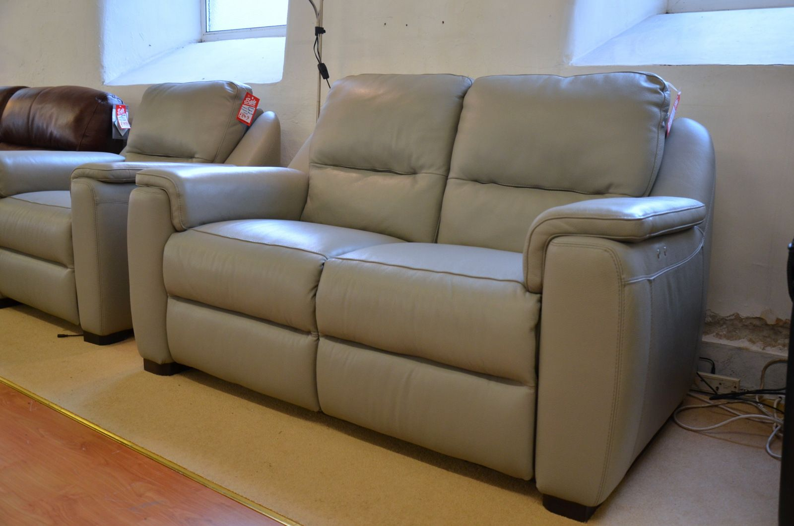 Enjoyable Strauss Grey Leather Recliner Sofa Three Piece Suite Bralicious Painted Fabric Chair Ideas Braliciousco