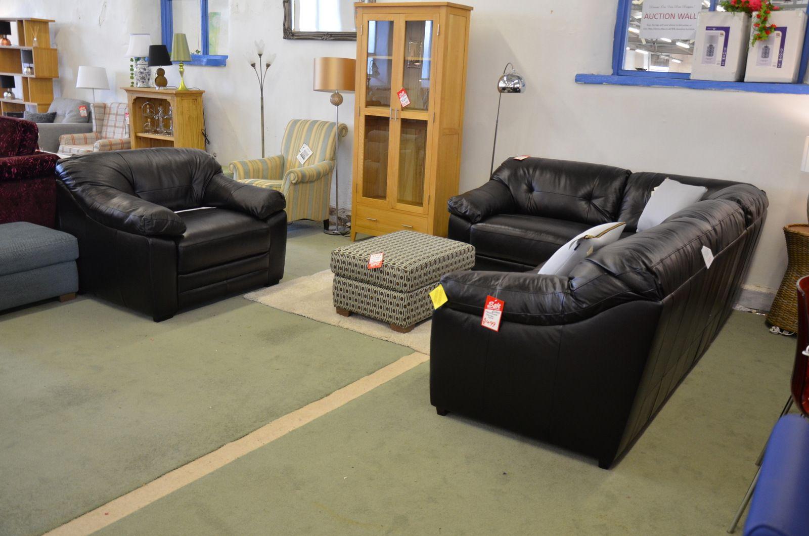 Malbec Black Leather Corner Sofa and Armchair Suite