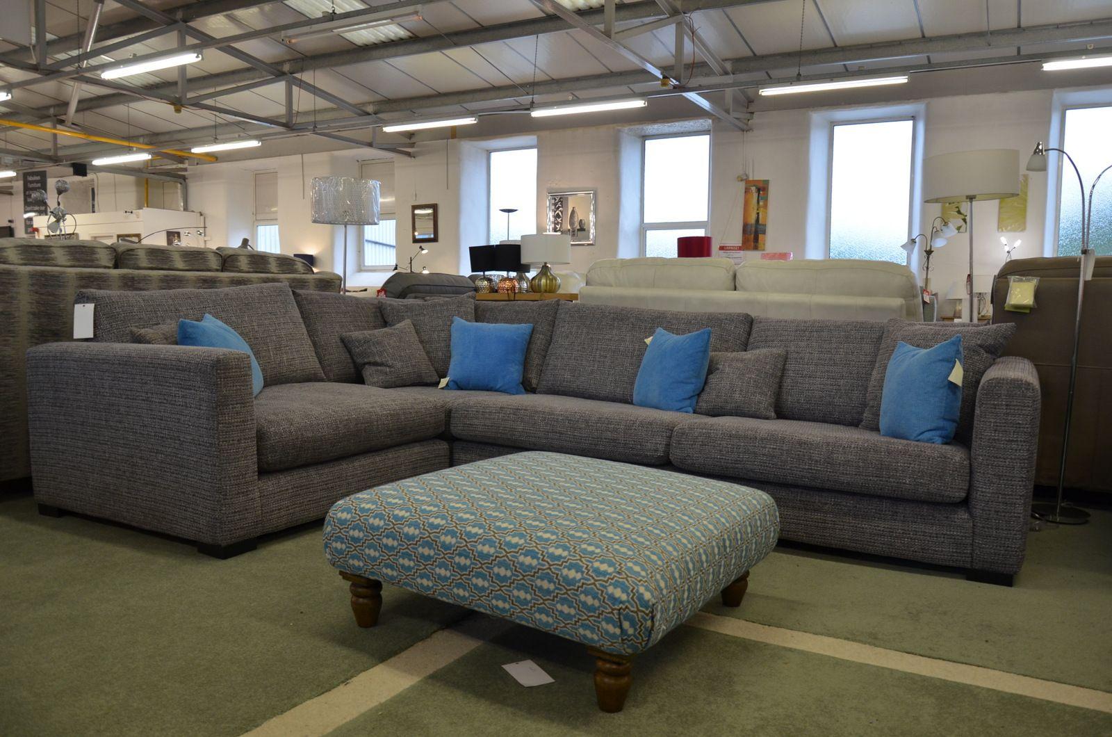 Dillon Large Corner Sofa in Grey Fabric
