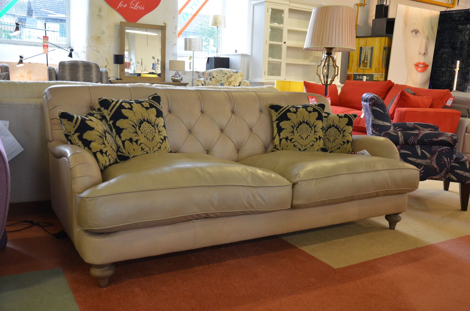 Strange Windermere Large 3 Seater Sofa In Tan Beige Leather Caraccident5 Cool Chair Designs And Ideas Caraccident5Info