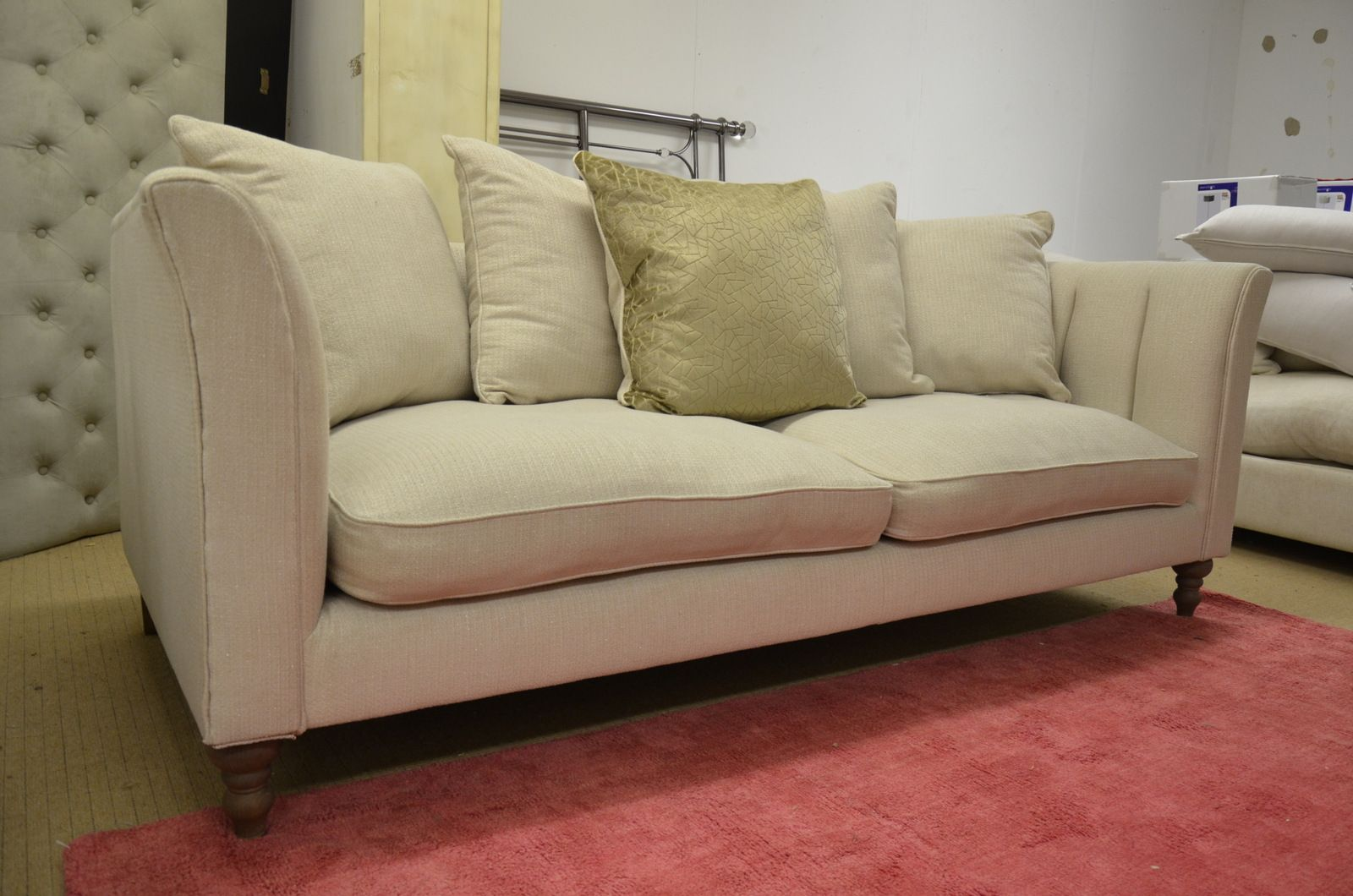 GLAMOUR Large 3 Seater Sofa in Gold Sparkle Fabric with Scatter Cushions
