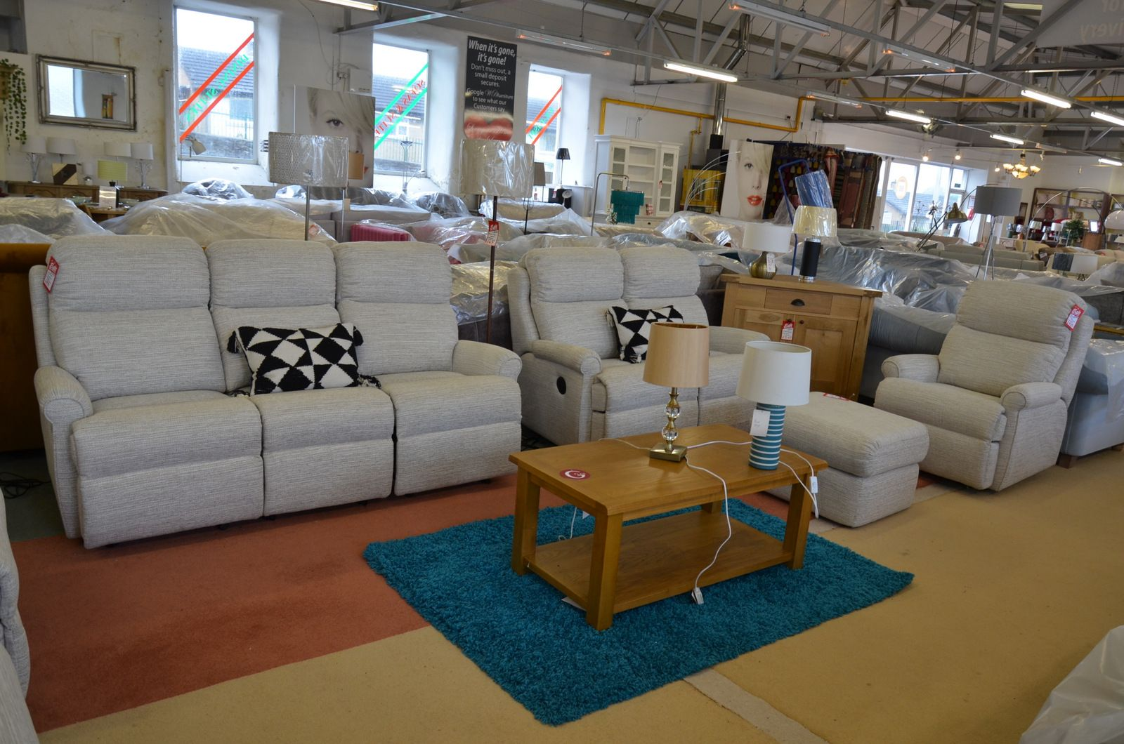 Newbury 3 Piece Suite Two and Three Seater Sofas with Recliners, Manual Chair and Footstool