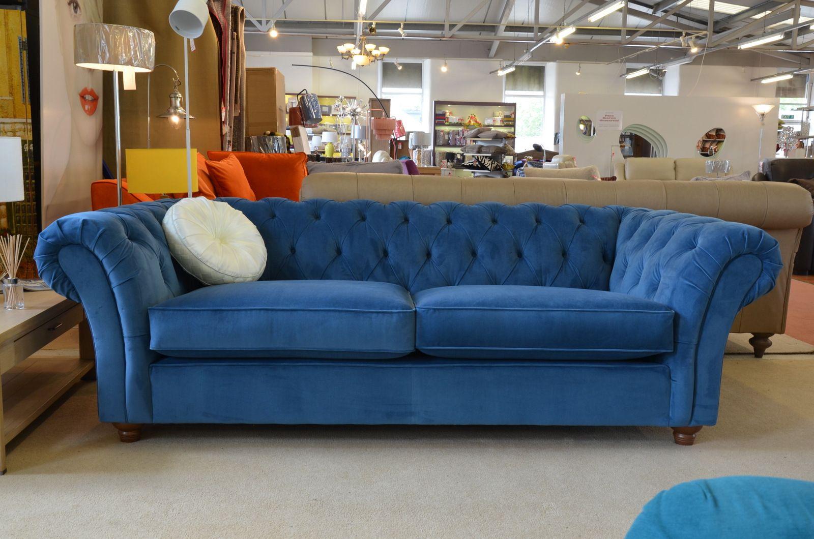 Maddox 3 Seater Chesterfield Sofa in Blue Velvet