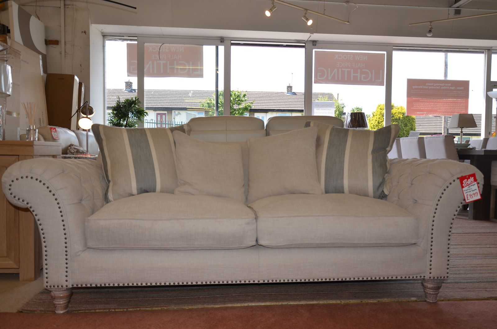 Keaton Large Chesterfield Sofa in Pale Beige Fabric