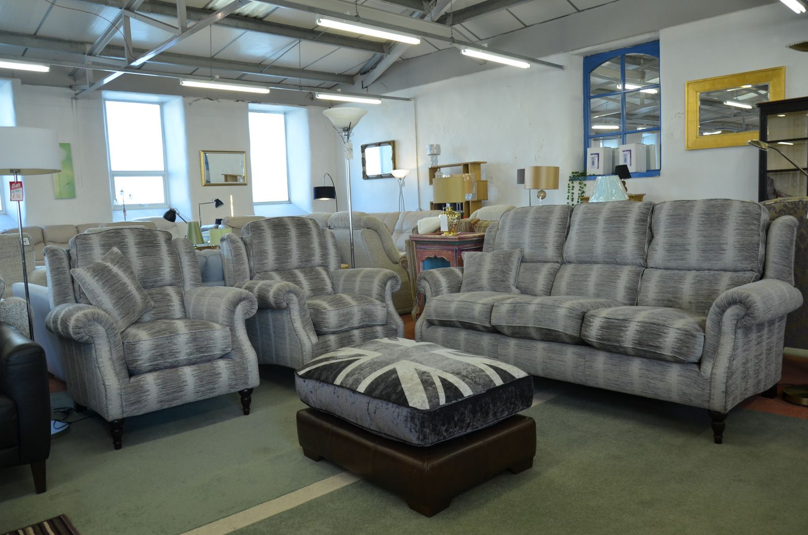 Admirable Henley 3 Seater Sofa 2 Armchairs In Grey Fabric Machost Co Dining Chair Design Ideas Machostcouk