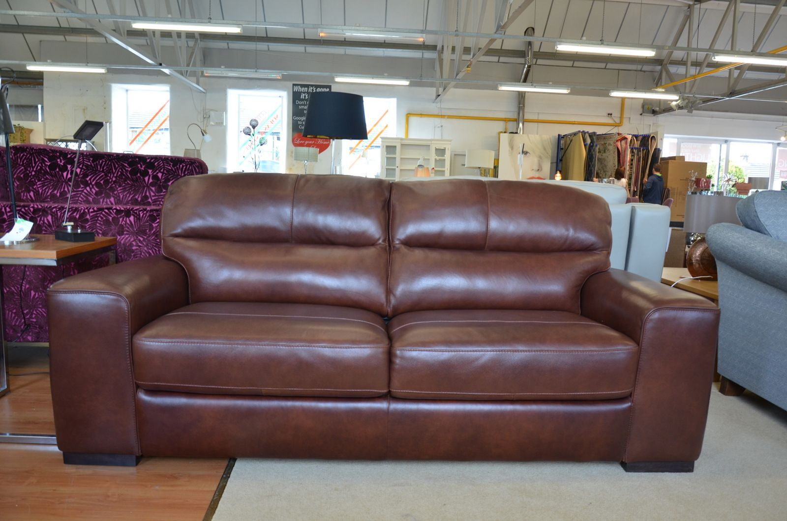 Amadeus 2 Large 3 Seater Sofas in Brown Italian Leather from Italy