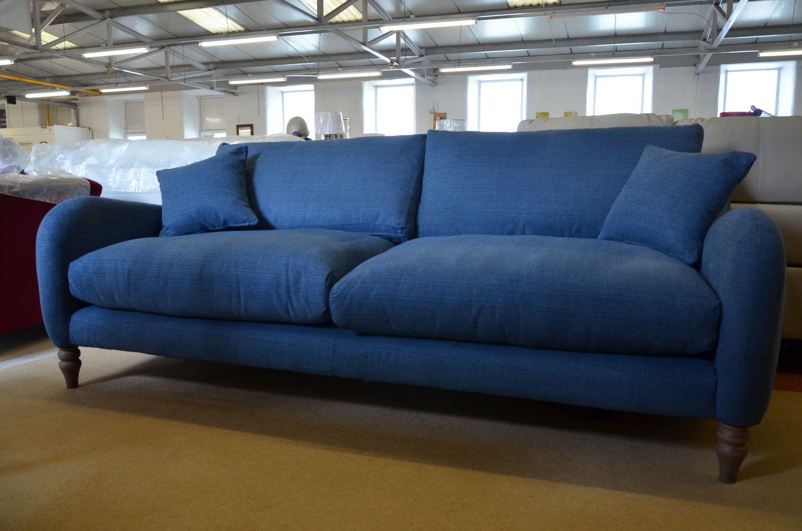 Tivoli Large 3 Seater Sofa In Blue Cotton Fabric