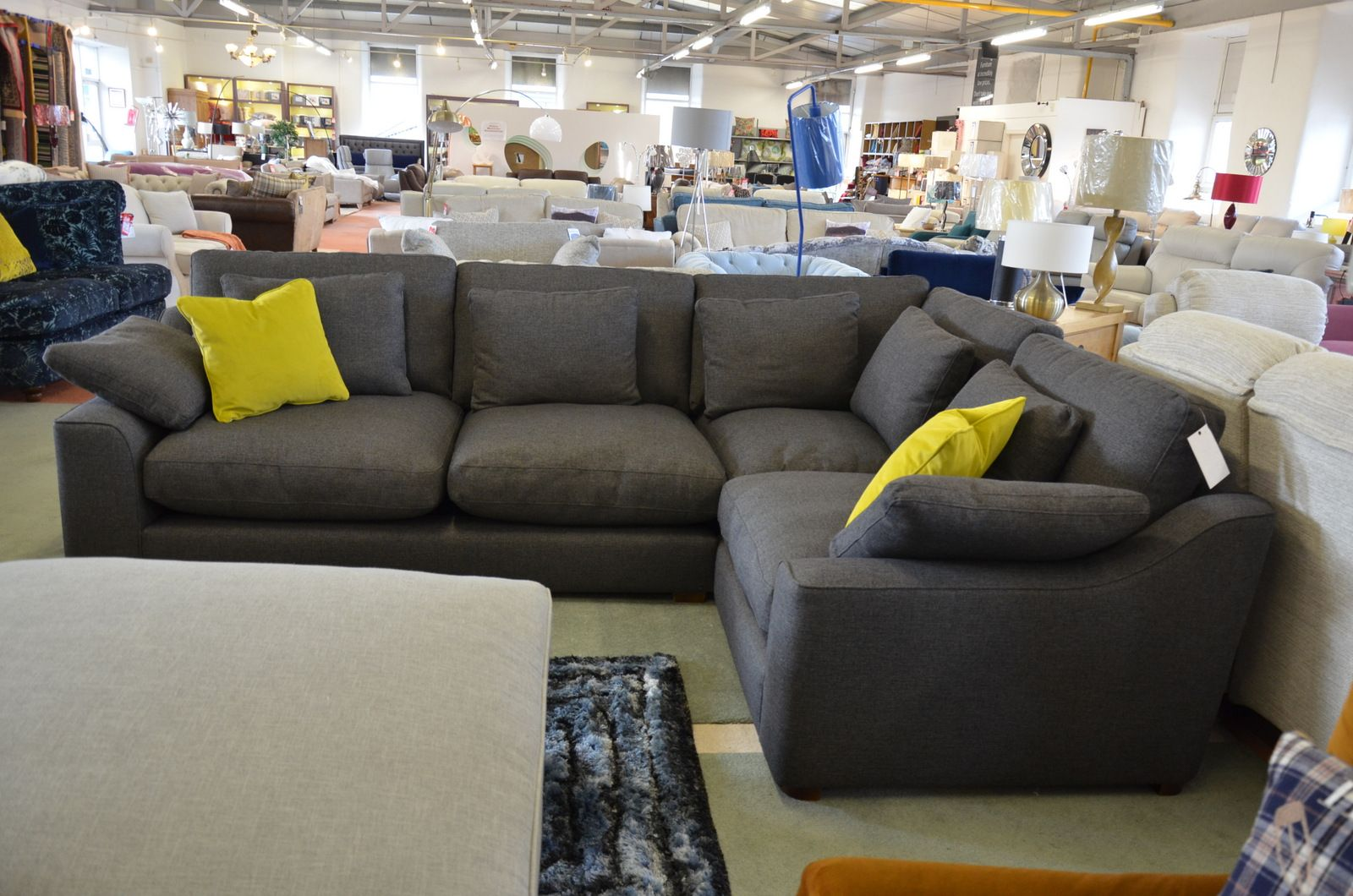 Family Corner Sofa In Dark Grey Fabric British Made Prototype