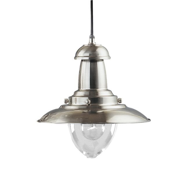 Neptune Pendant Ceiling Lamp Industrial Fisherman Satin Silver