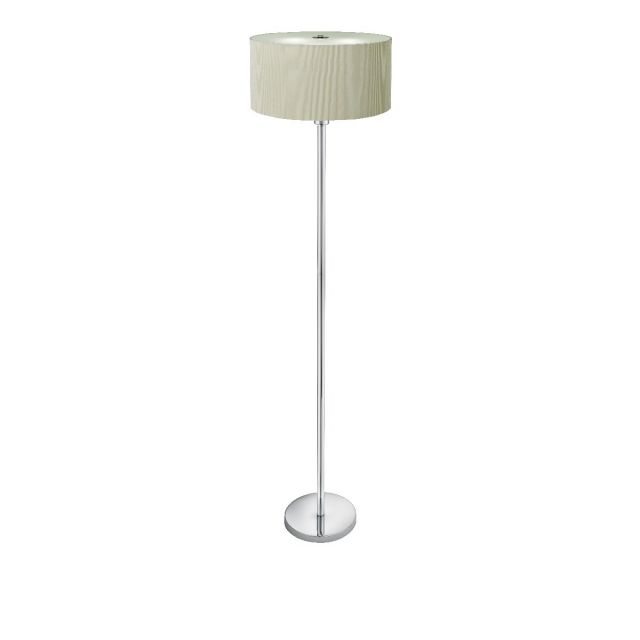 Cream Drum Floor Lamp with 3 Lights and Glass Diffuser 5663-3CR