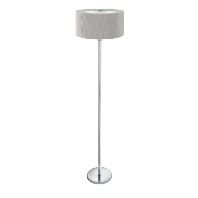 Silver Drum Floor Lamp with 3 Lights and Glass Diffuser 5663-3SI