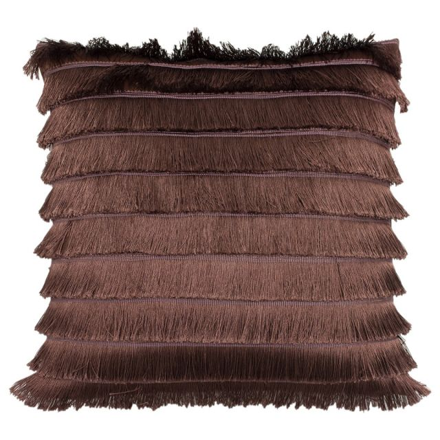 Pair of Fringed Deco Cushions in Soft Plum with Fillings