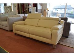 1701 3 Seater Sofa Cream Leather with Electric Recliners