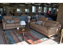 1701 Two Piece Leather Suite half price sofa sale in Lancashire near the A59