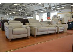 1701 Large 3 Seater Sofa and Two Electric Recliner Armchairs in Pale Grey Leather