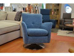 1704 Swivel Armchair Blue Fabric Modern Livingroom Chair