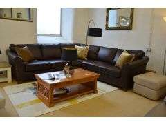 M&S Abbey Corner Sofa Half Price Brown Leather Suite