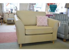 Abbey Cream Leather Snuggler Chair Loveseat