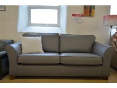 Abbey Large and Medium Sofas in Steel Grey Leather Two Piece Suite