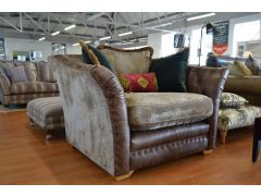 ex display sofas Lancashire leather and fabric snuggler chair loveseat