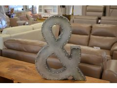 Brushed Metal & Ampersand And Sign Industrial Riveted Style
