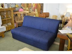 Appley Slide Out Sofa Bed Ink Blue Fabric Armless Four Seater Sofa