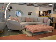 Curved Sofa Prototype Fabric Corner Suite Pale Grey with Pink Cushions