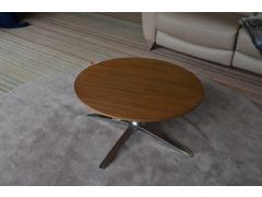 Boss Axis Round Coffee Table Walnut & Chrome