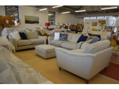 Luxury Velvet Large Three Piece Suite 3 + 2 Seater Sofas + Snuggler Chair and Footstool