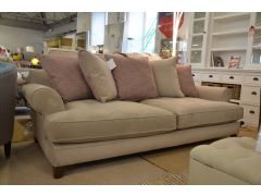 Briony Four Seater Sofa in Grey Plush Velvet with Pink Accents