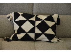 Eco Geo Pair of Bolster Cushions in Black & White Recycled Polyester