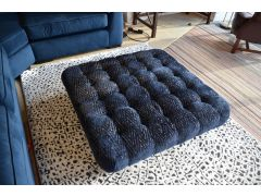 Blue Velvet Button Top Footstool with Silver Pattern