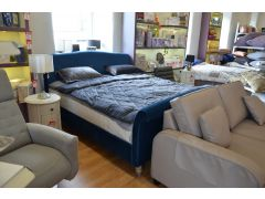 Superking Blue Velvet Bed and Mattress Set