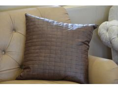 Pair of Malone Cushions with Feather Fillings in Brown Faux Leather