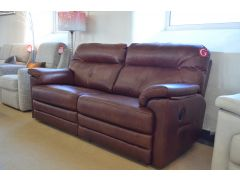 Stanton Two Piece Suite Recliner Sofas in Brown Leather