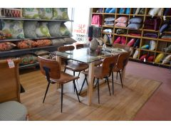 Glass Dining Table with 6 Opel Brown Leather Chairs