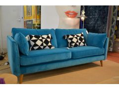 Large Retro Sofa in Ice Blue Velvet 3 - 4 Seater Settee