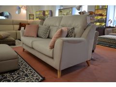 Compact 3 Seater Sofa in Pale Grey Velvet with Scatter Cushions