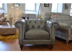 Grey Leather Chesterfield Armchair