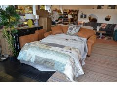 Chilmark 3 Seater Sofa Bed in Tan Fabric with Arm Caps