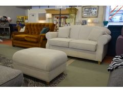 White Cotton Two Seater Sofa and Footstool Set