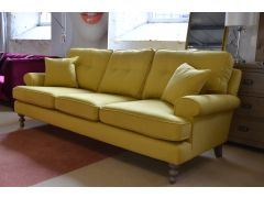 Clarence 3 Seater Sofa in Bright Yellow Fabric Retro Style