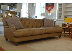 Half price british designer 4 seater leather sofa with button back design and p shaped arms