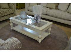 Devon White Wood and Glass Coffee Table