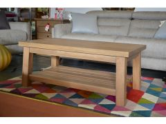 Solid Wood Rustic Coffee Table with Shelf
