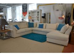 Miller Large Corner Suite with Chaise Extra Large White Fabric