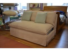 Deveril Compact Sofa Bed Loose Cover Beige Fabric 2 Seater