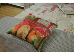 Indian Birds Cushions Pair of 2 Scatter Cushions Colourful Architecture Theme