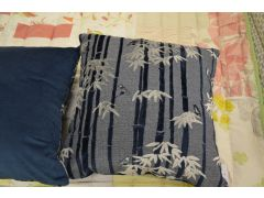 Blue Bamboo Forest Cushions Pair of 2 Large Scatter Cushions
